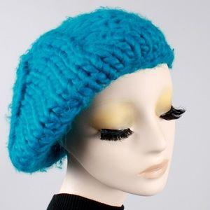 Vintage 70s Crochet Knit Slouch Beret Winter Hat